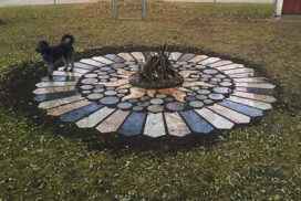 Firepit Surround with Dog_72_7in