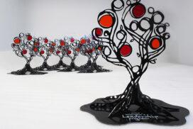 Sculptural awards cut metal glass_72_7in